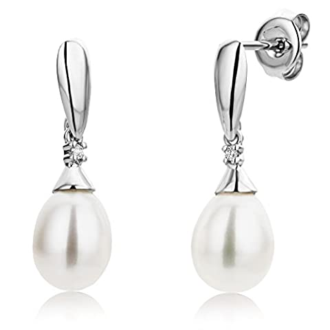 Miore 9 ct White Gold 0.02 ct Diamond and Pearl