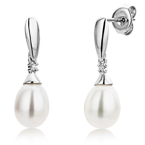 Miore Orecchini Donna Perle di fiume Pendenti  con Diamanti taglio Brillante Oro Bianco 9 Kt / 375