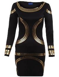 Sapphire pour femmes Doré Celebrity Jewellery Kim Tunique Bodycon ajusté-Clothings Robe courte pour femme