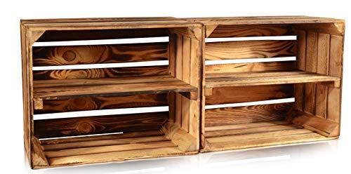 CHICCIE 2 Set Neue Vintage Holzkiste mit Ablage vom Werk (Quer)- Gebrannt Geflammt - Obstkiste - Weinkiste - Natur Used Look
