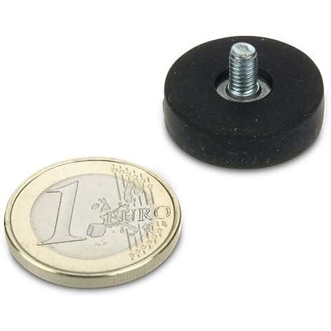 Imán sistema ø22mm, borde engomado con rosca M4X 6, Soporta 5,8kg)