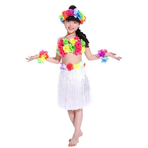 Hawaiano-Vestido-Falda-Hierba-para-Ninas-Guirnaldas-de-flores-5pcs-Accesorios-de-playa-Costume-Disfraces-Blanco