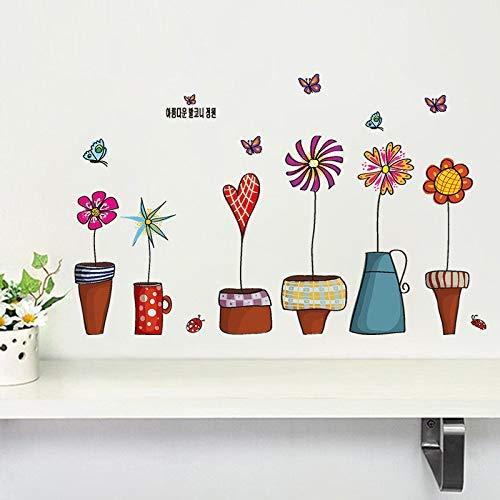 Wandaufkleber Blumentopf Schmetterling Hausdruck Wandbild Kunst Pflanze Abziehbilder Kinder Geschenk Wohnzimmer Bett Spielzimmer