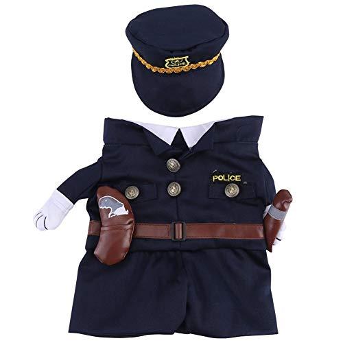 Jadeyuan Kostüm Polizist Kostüm Outfits mit Hut Haustier Hund Katze Halloween Kostüme Die Polizei for Party Weihnachten Special Events Kostüm Uniform mit Hut Funny Haustier Bekleidung (Size : Large) (Polizei Katze Kostüm)
