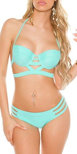 Damen Neckholder Bikini Style - Cut Out Look gepolstert Badeanzug Beachwear Farbauswahl Gr. 32-40 3 Mint