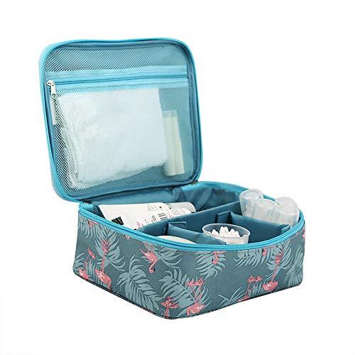 Da.Wa Trousse de Toilette Femmes,Trousse Maquillage Voyage Cosmétique Sac Grande Capacité Organisateur Voyage Sac Organisateur - Grande Trousse Flamingo(Bleu)