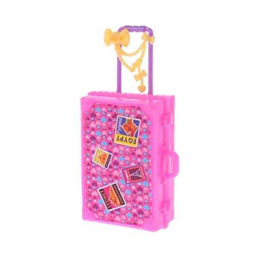 WDTongPuppe Koffer Spielzeug Reise Mode Niedlich Möbel Puppenhaus Gepäck Simulation 3D Spielhaus Spiel Kinder Kinder Mädchen Stamm Kunststoff Miniatur Puppen Zubehör Rosa Geschenke
