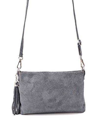48d3237ca5c9c ... Ledertasche blau klein Lederhandtasche Umhängetasche Fransen echt Leder  Tasche Wildleder Handtasche Damen 34-bue Grau ...