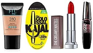 Maybelline New York Date Night Makeup Kit -  Fit Me Foundation Tube Sun Beige + Hypercurl Mascara Washable + Colossal Kajal + Creamy Matte Siren in Scarlet