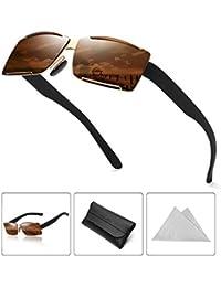 60a334c21fa06 ATNKE Rétro Carré Sans monture Polarisé lunettes de soleil pour hommes  Femmes Énorme UV400 Protection avec
