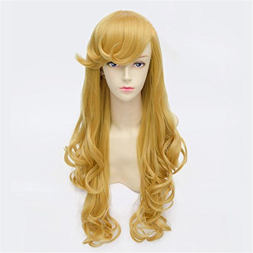 Frauen Mädchen Mode niedlich langes lockiges, welliges Gold Haar Perücke hitzebeständige Faser synthetisch Party Cosplay Prinzessin Perücken