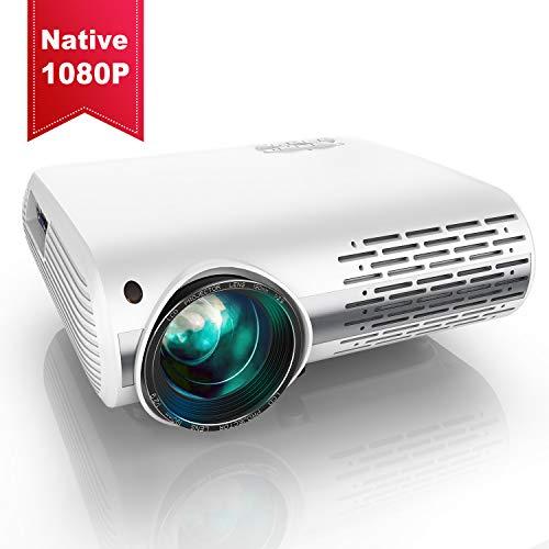 Vidéoprojecteur, YABER 5500 Lumens Video Projecteur Full HD 1080P (1920 x 1080) Retroprojecteur avec Réglage Trapézoïdal 4D, Soutien 4K, Projecteur LED Compatible VGA HDMI AV USB pour Home Cinéma