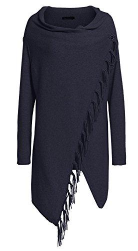 Cashmere Dreams Poncho-Schal mit Kaschmir und Fransen - Hochwertiges Cape für Damen - XXL Umhängetuch und Tunika - Strick-Pullover - Sweatshirt - Stola für Sommer und Winter Zwillingsherz - navy