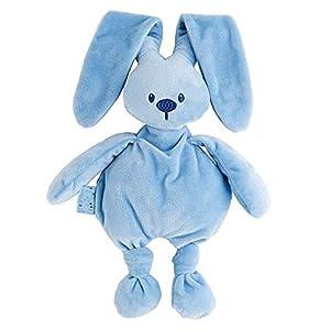 Nattou  Lapidou Conejo de peluche , Compañero desde el nacimiento, 36 cm, Azul vaquero