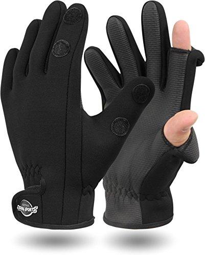 normani Neopren Anglerhandschuhe Zeigefinger und Daumen zum umklappen, wetterfest [XS-3XL] Farbe Schwarz Größe L (Neopren-angeln-handschuh)