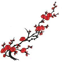 1 x Flor de Ciruelo Apliques Bordado Hierro por coser Ropa Parche 28 x 22 cm (Rojo)