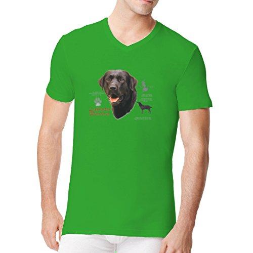 Im-Shirt - T-Shirt: Schwarzer Labrador Retriever Hund cooles Fun Men V-Neck - verschiedene Farben Kelly Green