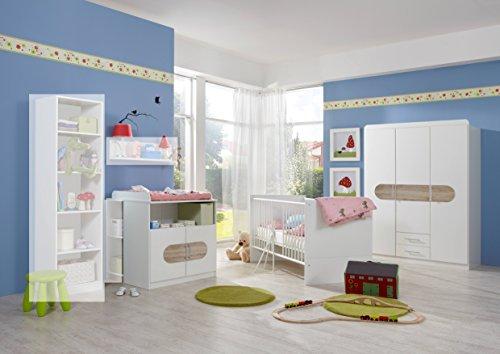 Wimex Babyzimmer-Set 316392 Lilly, Weiß, Abs. San Remo-Eiche-Nachbildung