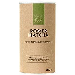 Your Superfoods – Power Matcha Bio Vegan Superfood Mix Mischung Trinkpulver aus Maca, Weizengras, Gerstengras – für besseren Fokus & mehr Energie 100g