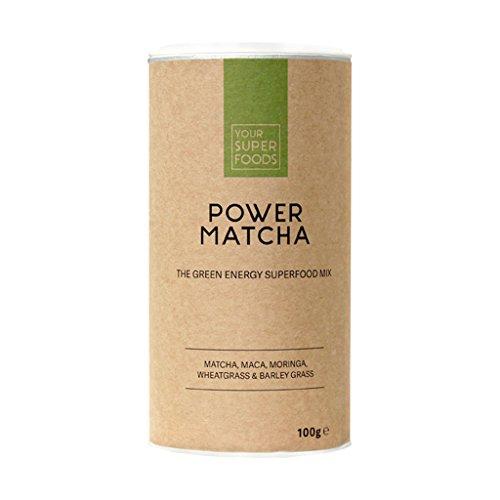 Your Superfoods – Power Matcha Bio Vegan Superfood Mix Mischung Trinkpulver aus Maca, Weizengras, Gerstengras – für besseren Fokus & mehr Energie 100g (Pulver-tee-mix)
