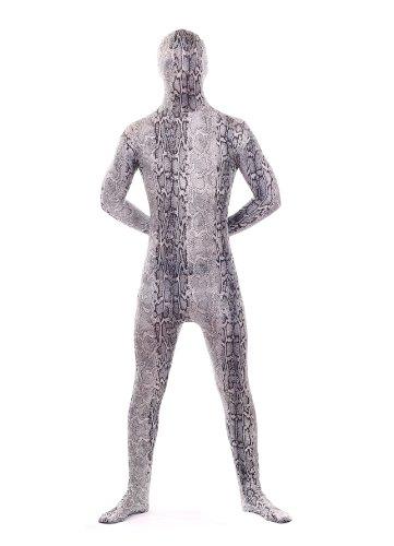 Luxus-Ausgabe: Grau Schlangenleder Tier Druck Lycra Catsuit von Stretchy Suits (Männer: Klein) (Superfan Kostüme)