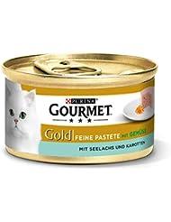 Gourmet Gold Katzenfutter Feine Pastete mit Seelachs und Karotten Dosen, 12er Pack (12 x 85 g)