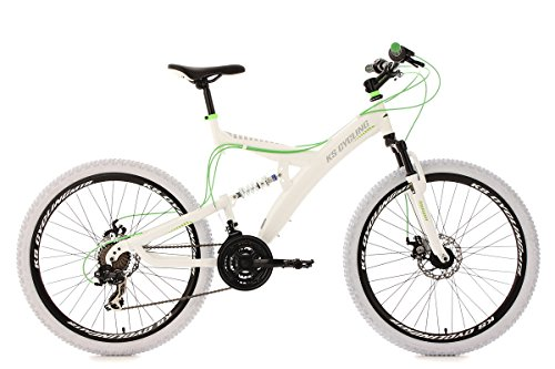 KS Cycling Fahrrad Mountainbike MTB Fully 26 Zoll Topspin RH 51 cm, Weiß-Grün, 26, 186M
