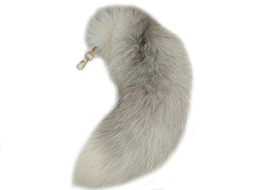 Fuchsschwanz Anhänger Weiß Fell Schwanz Keychain,Extra Groß Schlüsselring,Tasche Zusätze Tasche Anhänger Auto Schlüsselketten,Weich Flaumig Dicht Dekoration Ursprüngliche Natürliche Farben,etwa 40cm