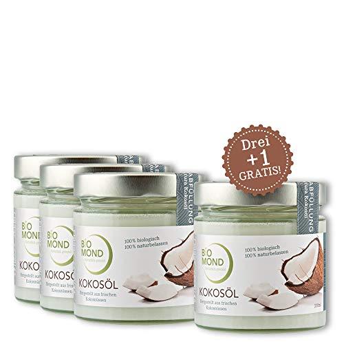 BIO Kokosöl nativ BIOMOND Premium 330 ml/AKTION 3 + 1 Gratis/kaltgepresst/nicht raffiniert/Virgin Coconut Oil/frisch/Rohkostqualität/Butterersatz