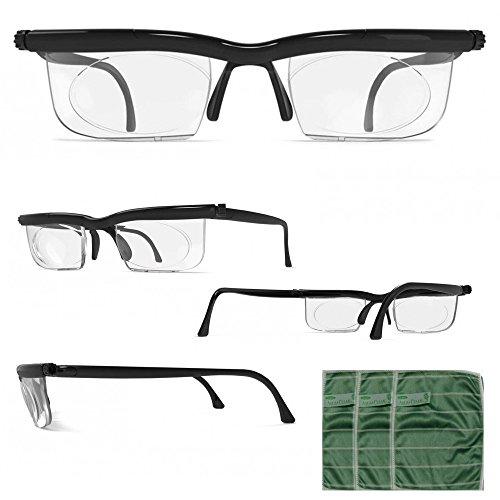 Adlens® Brille mit Dioptrien individuell einstellbar unisex + GRATIS Brillentücher 3er Set