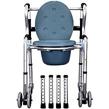 MEYLEE Aluminio Tránsito móvil Cómoda móvil Cómoda Silla de ruedas con ruedas Transportes Cuarto de baño Asiento del asiento Discapacidad Movilidad Ayuda con un recipiente extraíble