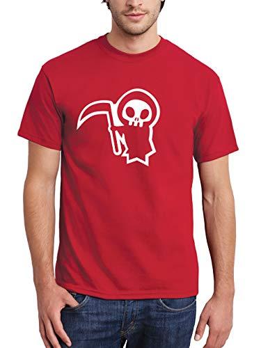 clothinx Herren T-Shirt Halloween Sensenmännchen Rot/Weiß Größe S