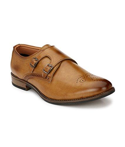 Real Blue Men's Tan Monk Strap Formal Shoes Size:- 7