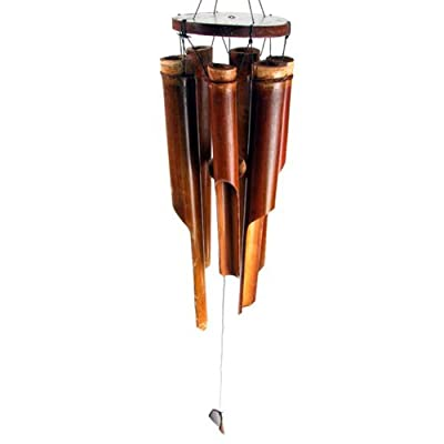 Large Dark Brown Bamboo Windchime 6 Chimes Brown Clapper. Oriental Gifts.