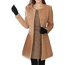 Paolian Manteau de Dames Automne et Hiver Manteau de Laine Grand Manteau de Couleur Unie Mince Manteau de Fourrure, Mode Manteau de Laine Chaud et Confortable(S/M/L/XL/XXL)