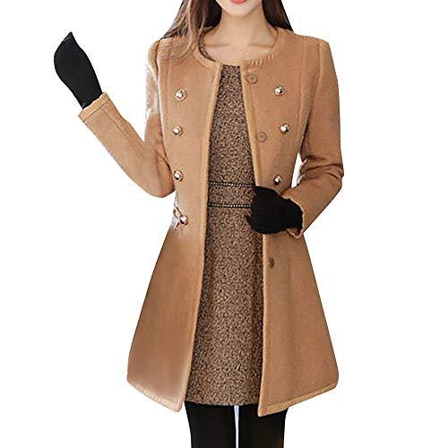 IZHH Damen Mantel Winter Frauen Warm Outwear Wolle Revers Trench Parka Mantel Jacke Mantel Winter Warme Jacke Wolle Revers Windjacke Mantel Jacke Mode(Khaki,Small)