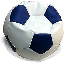 Hagoelvago - Vagofunseats-puff futbol-polipiel, medidas 45asiento 65hx 60 ø cm aprox, color blanco / azul