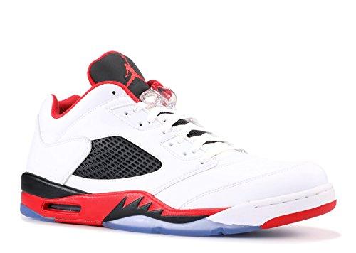 Nike Herren Air Jordan 5 Retro Low Basketballschuhe, Weiß/Rot/Schwarz (Weiß/Feuer-Rot-Schwarz), 44 EU (Und Rote Weiße Jordans)