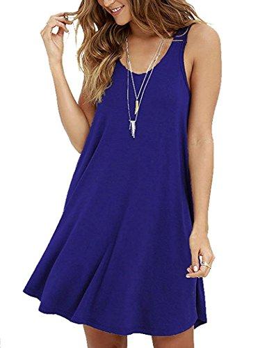 poseshe-new-womens-casual-plain-simple-t-shirt-loose-dress-smalluk-8-10-royal-blue