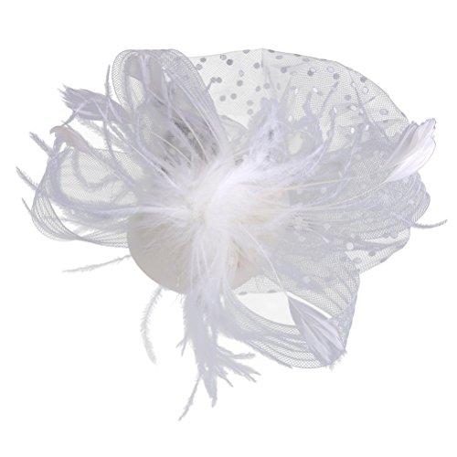 Beaupretty Braut Feder Haarspange Vintage Mesh Schleier Braut Hut Fascinators für Hochzeit Prom (weiß) -