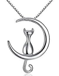 anewish Mujer Collares de Plata de Ley 925 con Colgante del Gato y Luna