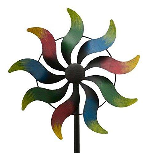 Klocke Gartendekoration Buntes Windrad Garten - Kleine Sonne/Metall - Ø 35cm / Höhe: 170cm - Wetterfest - Hochwertige Qualität & Stabiler Standstab - Gartenstecker/Metallwindrad/Windräder - Windspiel