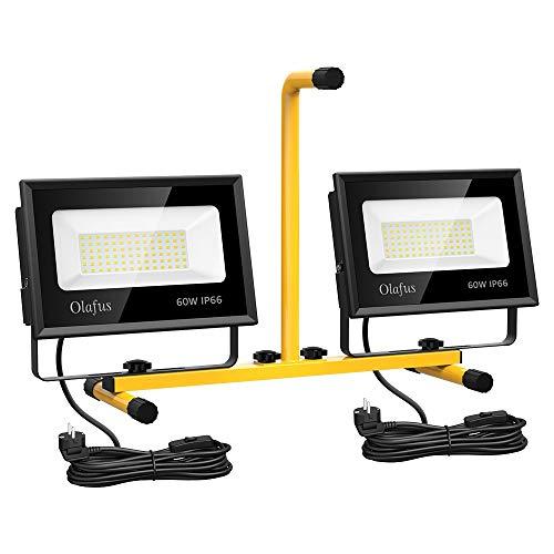 Olafus Double Projecteurs Chantier LED 120W 13000LM(60W 6500LM/pc), 220V Puissant IP66 Imperméable 5000K Blanc Froid Éclairage de Travaux sur Pied pour Atelier Garage Terrasse Construction