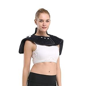 iGuerburn Almohadilla eléctrica para cuello, cervicales, hombros y espalda - 100W - Tamaño:54-60cm, Ideal para dolencias musculares y contracturas, Lavable, Gris