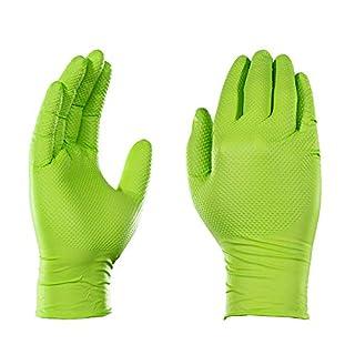 AMMEX Heavy Duty Green Nitrile 8 Mil Disposable Gloves - Extra Thick, Diamond Texture, Powder Free, Medium, Box of 100