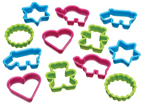 Kitchen Craft Let's Make - Set di 12 stampi per Biscotti, Forme assortite, in plastica