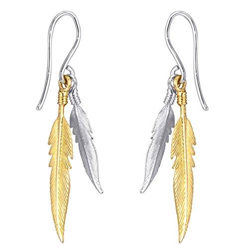 MATERIA Damen Ohrringe Gold hängend - Feder Ohrhänger 925 Silber rhodiniert + vergoldet in Geschenk-Box #SO-119-GG