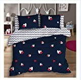 Magnetic Shadow Heart Printed Cotton AC Comforter/Duvet Set with Bedsheet (Queen Size, Multicolour)