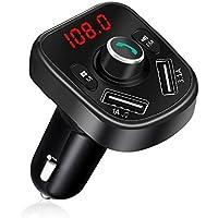 Bovon Transmisor FM Bluetooth, MP3 Player Inalambrico Adaptador de Radio Manos Libres Kit de Coche, Cargador de con Dos Puertos de Carga USB para Smarthphones