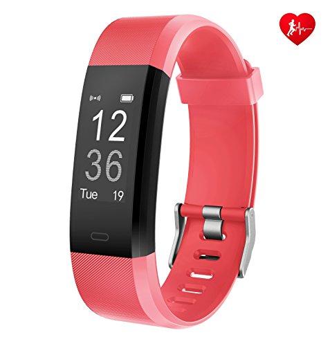 Fitness Tracker Arbily YG3PlUS Herzfrequenz-Monitor Tracker Fitness armband Smart Armband pulsuhr Aktivität Tracker mit Schlaf-Monitor SchrittZähler für Walking / Running / Cycling(rot)